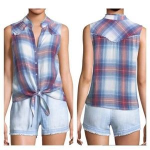 Cloth + Stone Plaid Tie Front Tank Top S